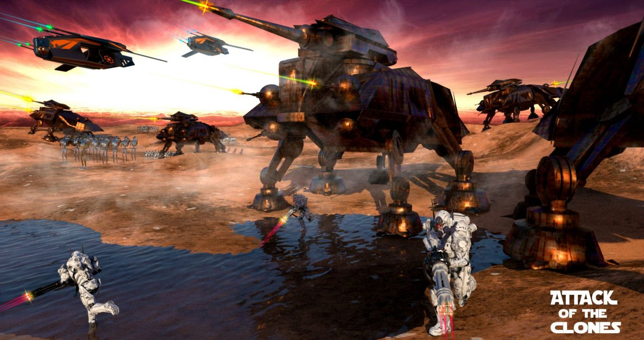 Star Wars Attack Clones Sci Fi Action Futuristic Movie Film Battle