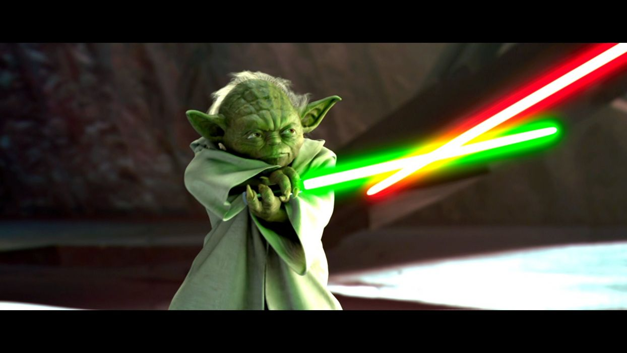 STAR WARS ATTACK CLONES sci-fi action futuristic movie film warrior yoda weapon lightsaber sword wallpaper