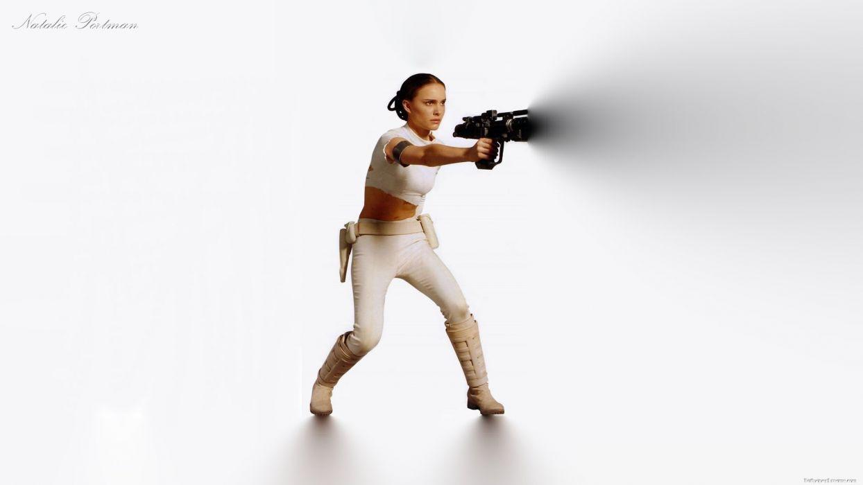 STAR WARS ATTACK CLONES sci-fi action futuristic movie film weapon gun warrior wallpaper