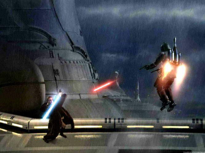 STAR WARS ATTACK CLONES sci-fi action futuristic movie film warrior battle lightsaber wallpaper
