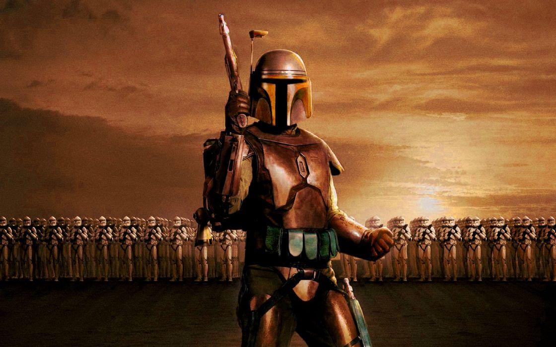 STAR WARS ATTACK CLONES sci-fi action futuristic movie film warrior armor wallpaper