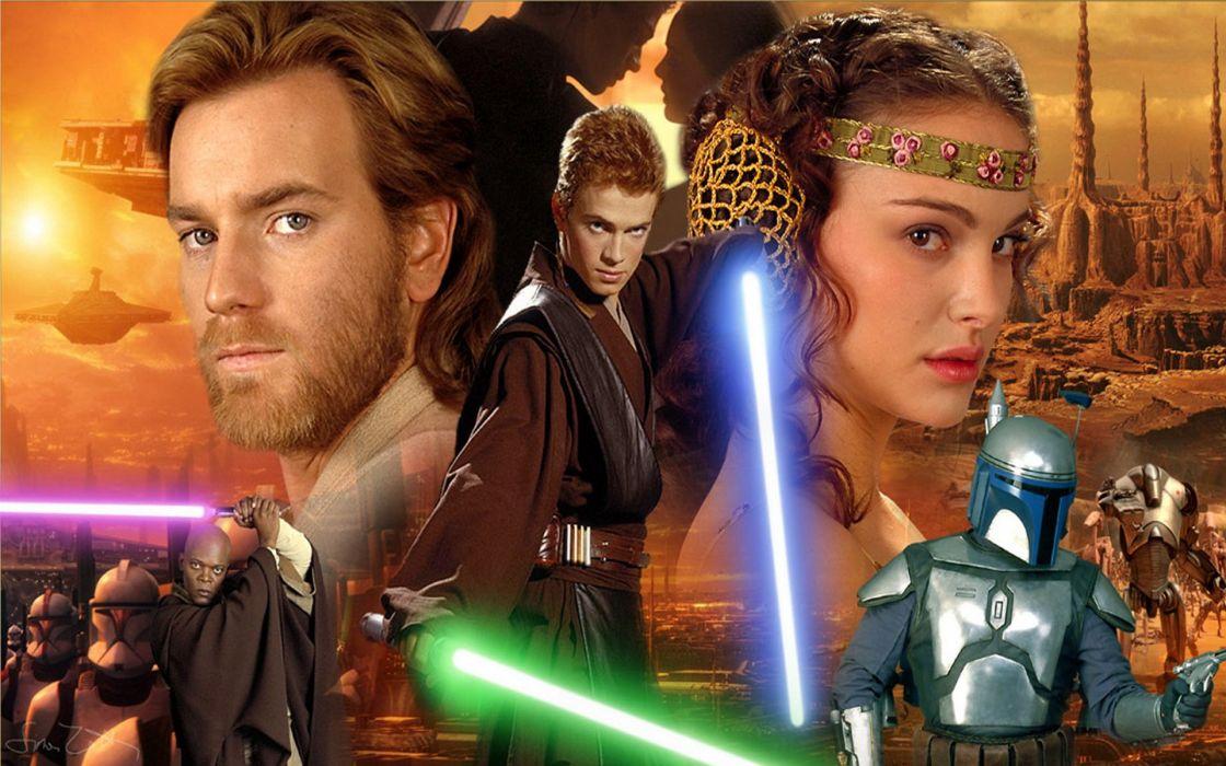 STAR WARS ATTACK CLONES sci-fi action futuristic movie film lightsaber weapon sword warrrior wallpaper