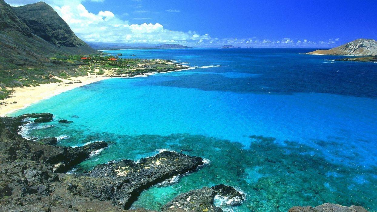 blue landscapes nature Hawaii Oahu sea wallpaper