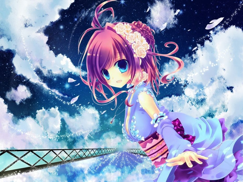 dress blue eyes fantasy art anime manga skyscapes anime girls flower in hair wallpaper