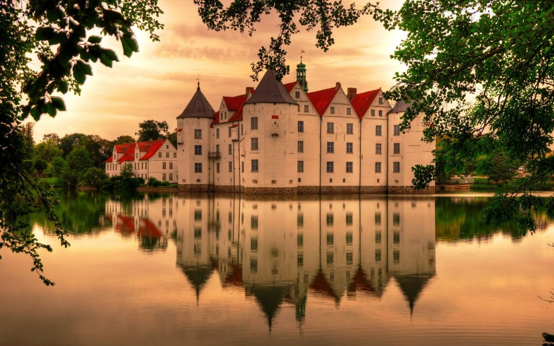 castles lakes reflections wallpaper