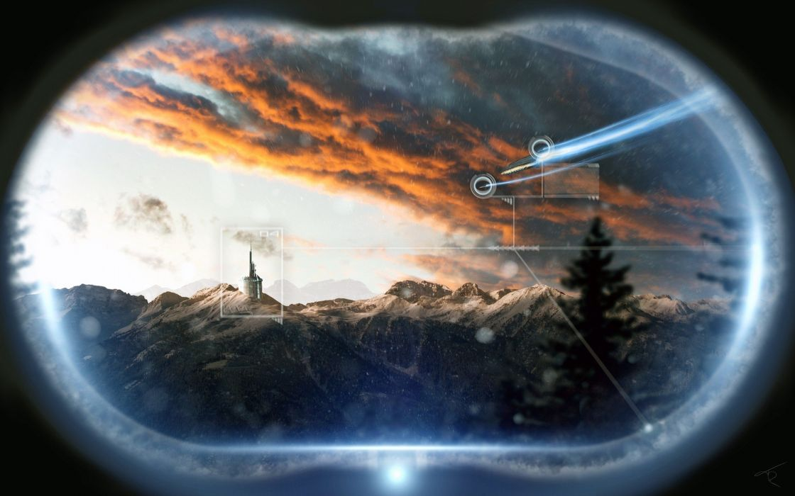 clouds castles forests sunlight spaceships skies wallpaper