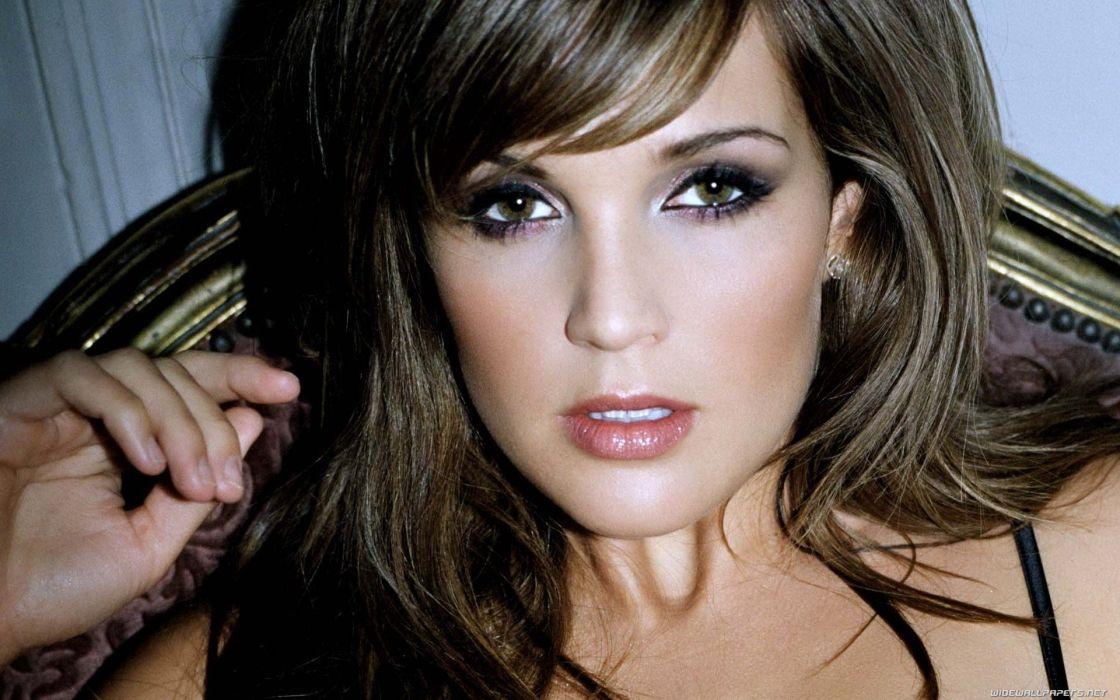 brunettes women Danielle Lloyd faces wallpaper