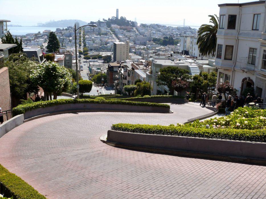 cityscapes streets architecture garden buildings San Francisco wallpaper