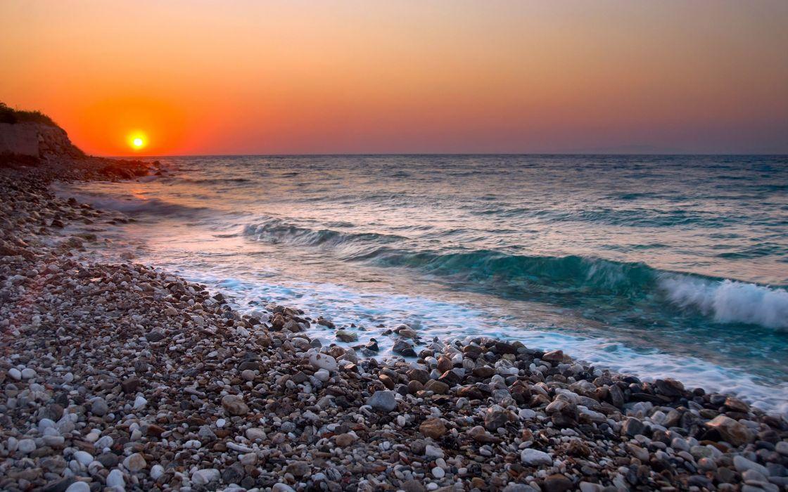 water landscapes rocks beaches wallpaper