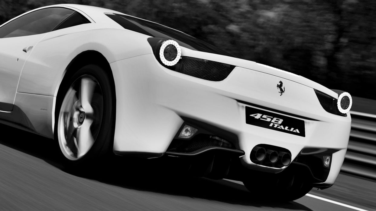 cars Ferrari grayscale Gran Turismo monochrome vehicles Ferrari 458 Italia Gran Turismo 5 wallpaper