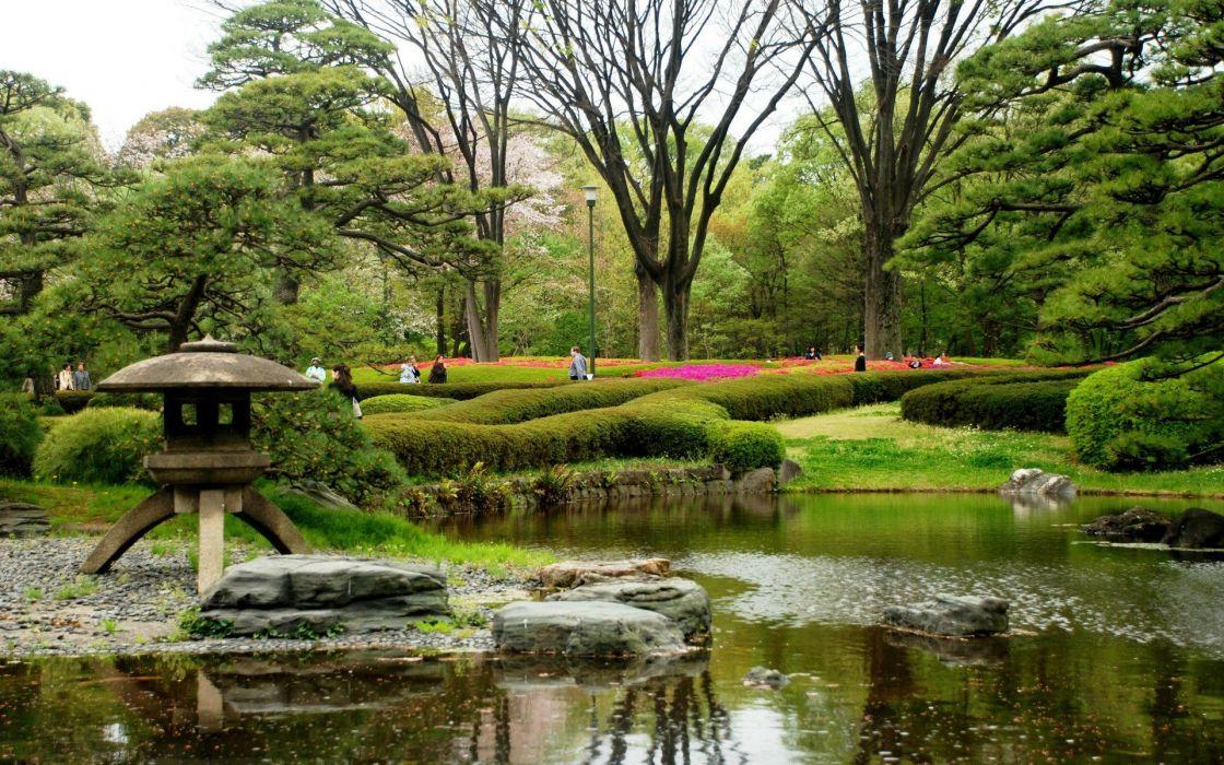 water japan trees flowers spring japanese gardens wallpaper - Japanese Garden Wallpaper
