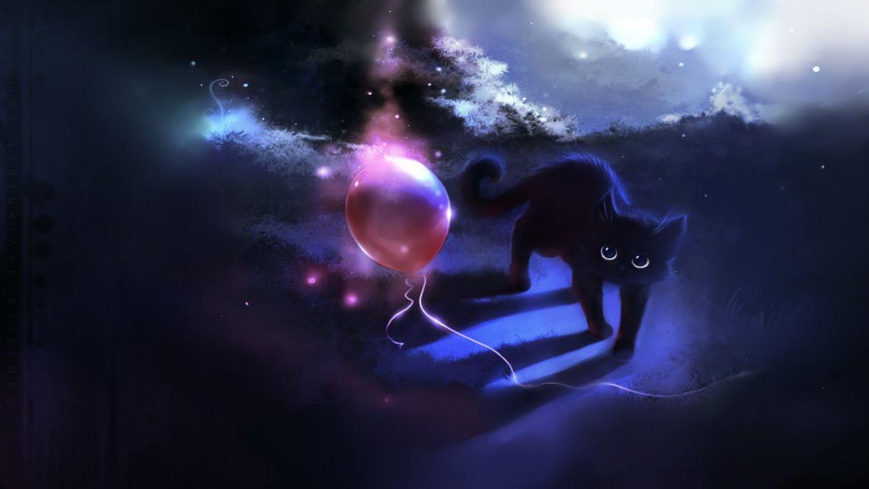 dark cats animals DeviantART artwork balloons Apofiss skyscapes wallpaper