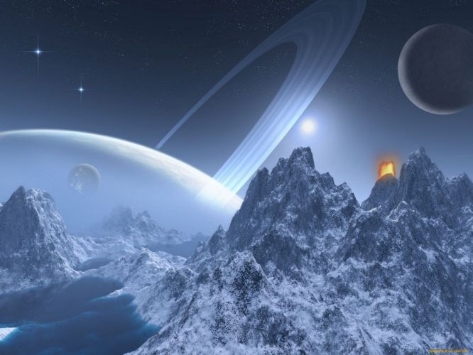 blue mountains outer space horizon planets atmosphere fantasy art skies wallpaper