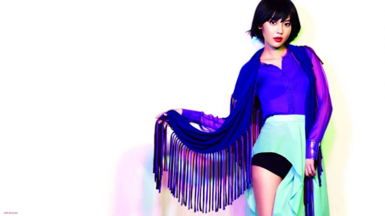 women models Girls Generation SNSD celebrity short hair Asians Korean singers Choi Sooyoung blue dress white background bangs black hair wallpaper