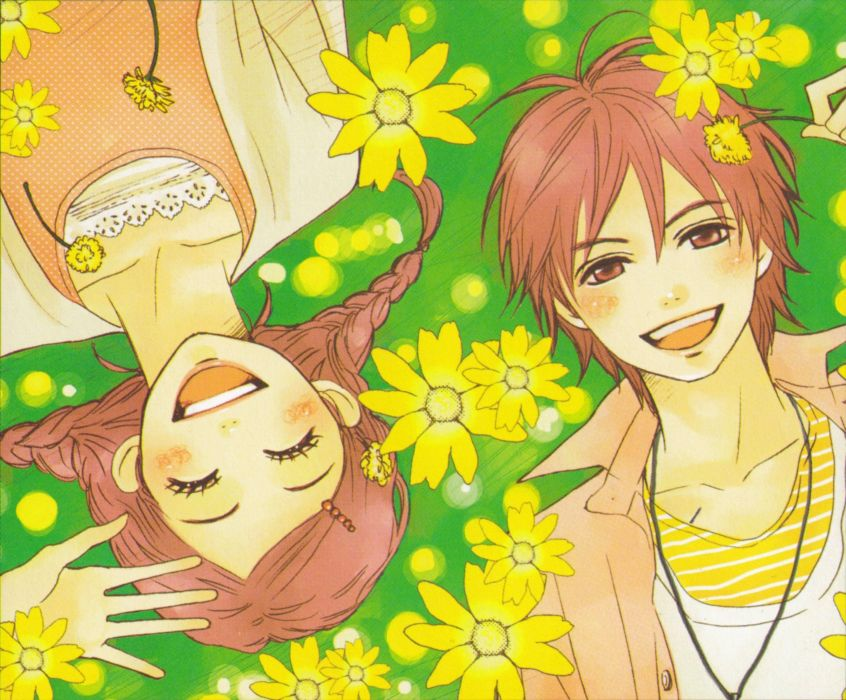 women flowers long hair brown eyes couple short hair Lovely Complex smiling necklaces male braids closed eyes orange hair Koizumi Risa Ootani Atsushi  wallpaper