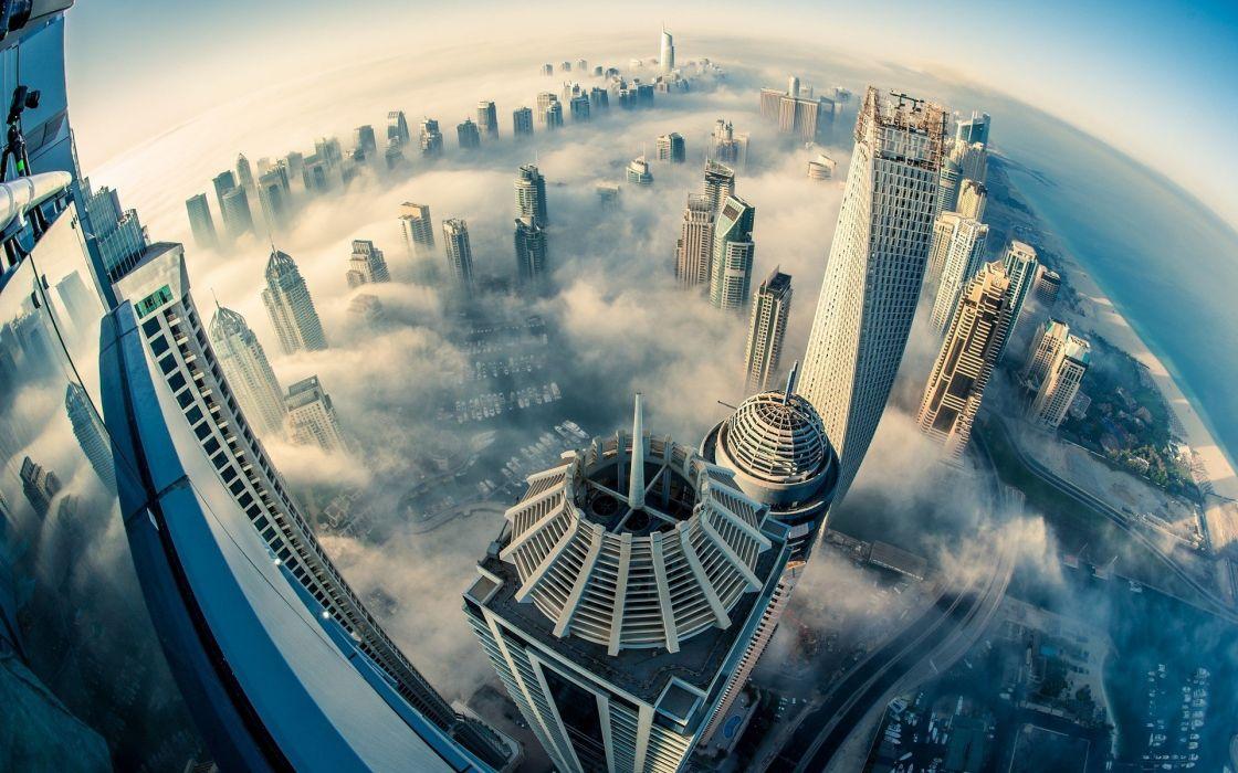 city dubai cloud fog building hd wallpaper