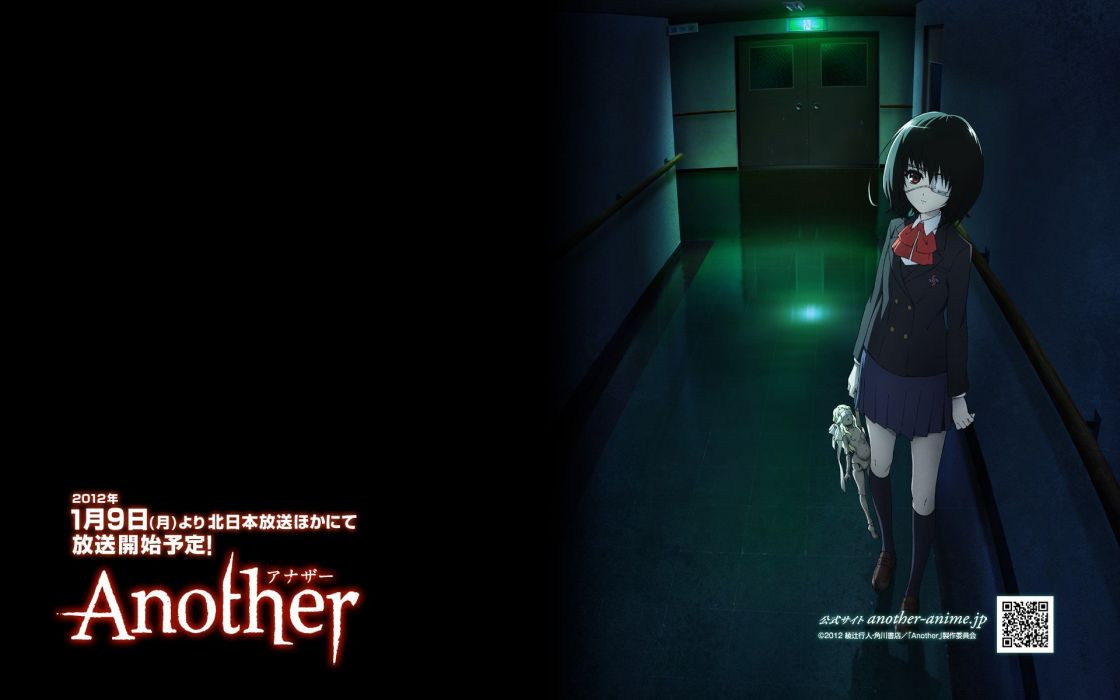 horror school uniforms illustrations anime Another (anime series) Misaki Mei scans wallpaper