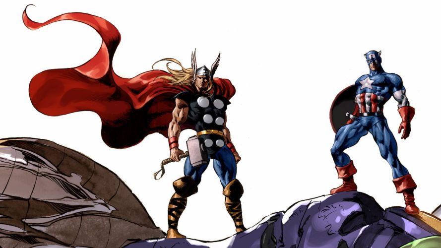 comics Thor Captain America Marvel Comics wallpaper