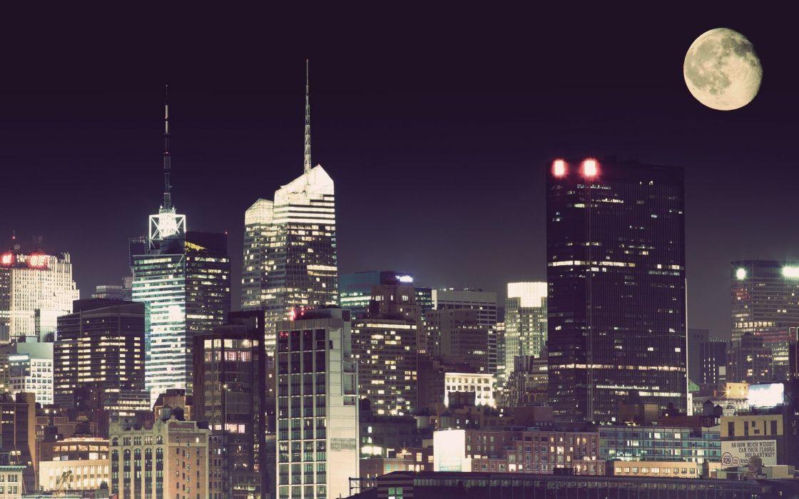 cityscapes Moon wallpaper