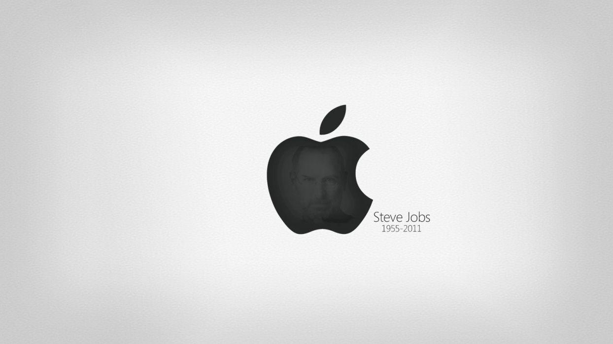 black white Steve Jobs grey background wallpaper