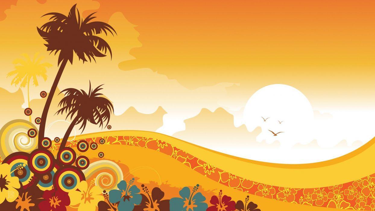 tropical illustrations floral sunny vector art wallpaper