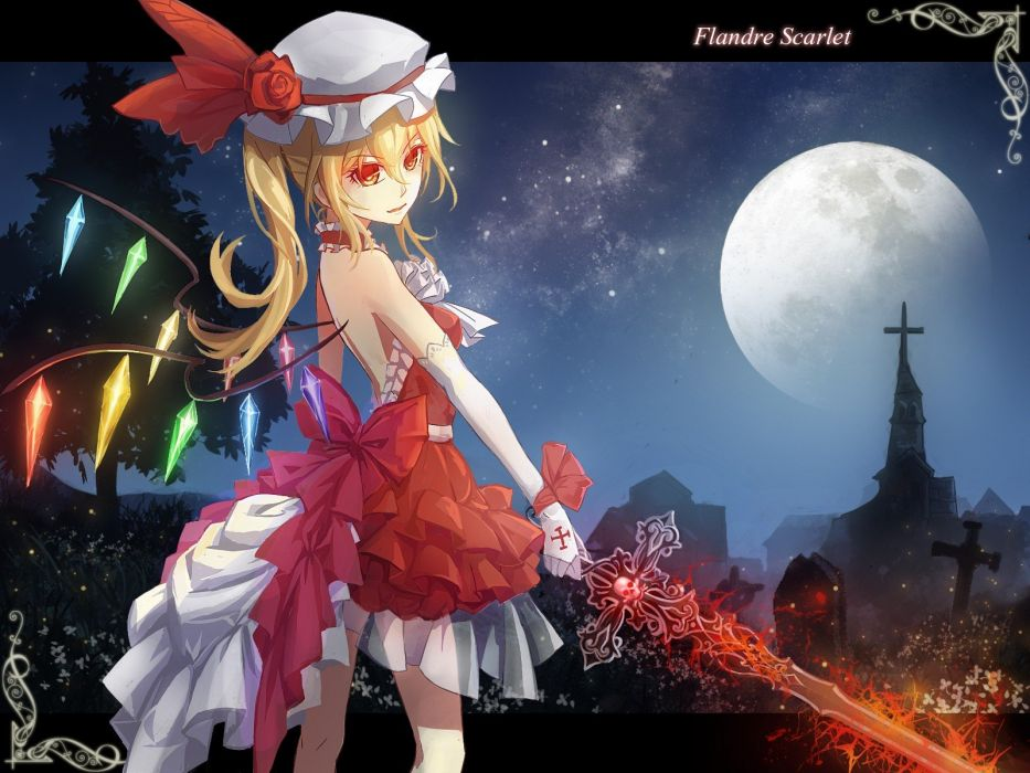 blondes video games Touhou wings trees gloves dress flowers stars text Moon grass houses long hair weapons vampires red eyes churches crystals tombstones Flandre Scarlet hats anime girls swords ornaments nights tombs wallpaper