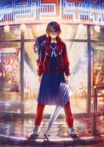 umbrellas anime girls scans Hiroe Rei (Artist) original characters wallpaper