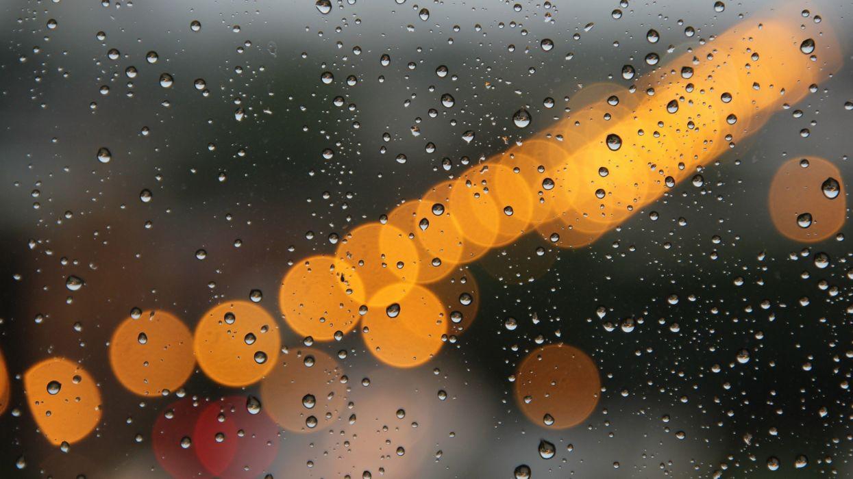 water close-up lights macro raindrops drops wallpaper