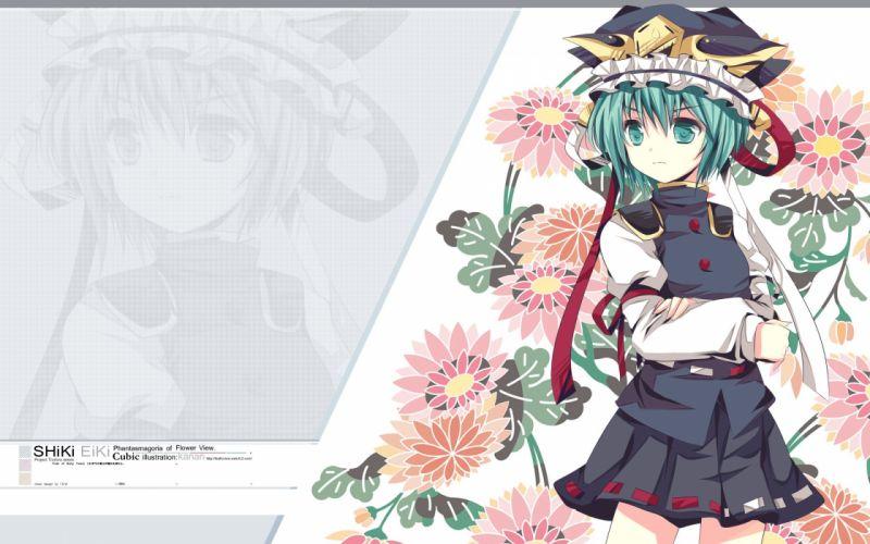 video games Touhou uniforms flowers skirts ribbons green eyes short hair green hair hats Shikieiki Yamaxanadu wallpaper