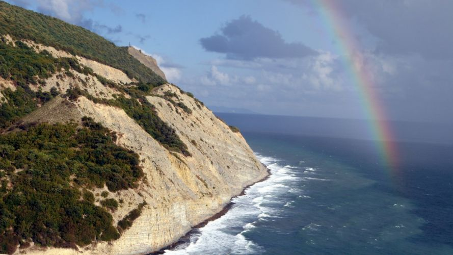 coast trees rainbows Cliff wallpaper