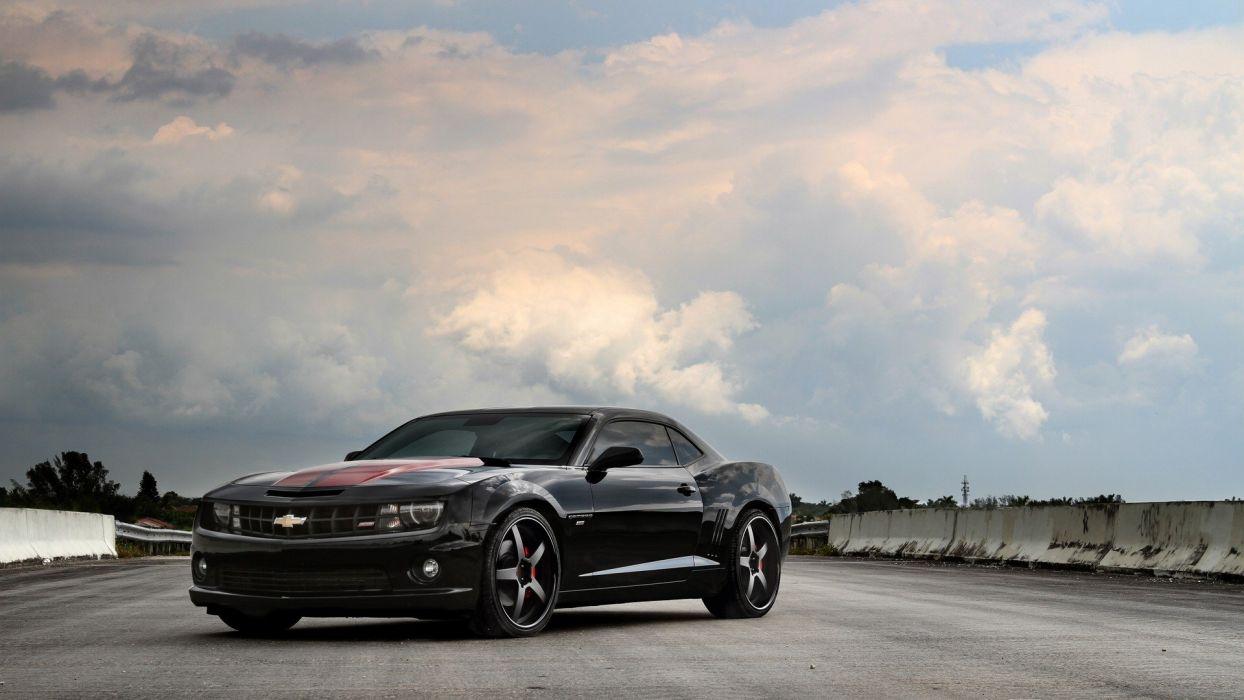 clouds cars roads Chevrolet Camaro SS black cars wallpaper