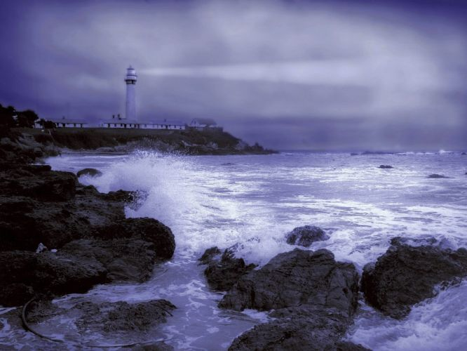 light station point weather California wallpaper