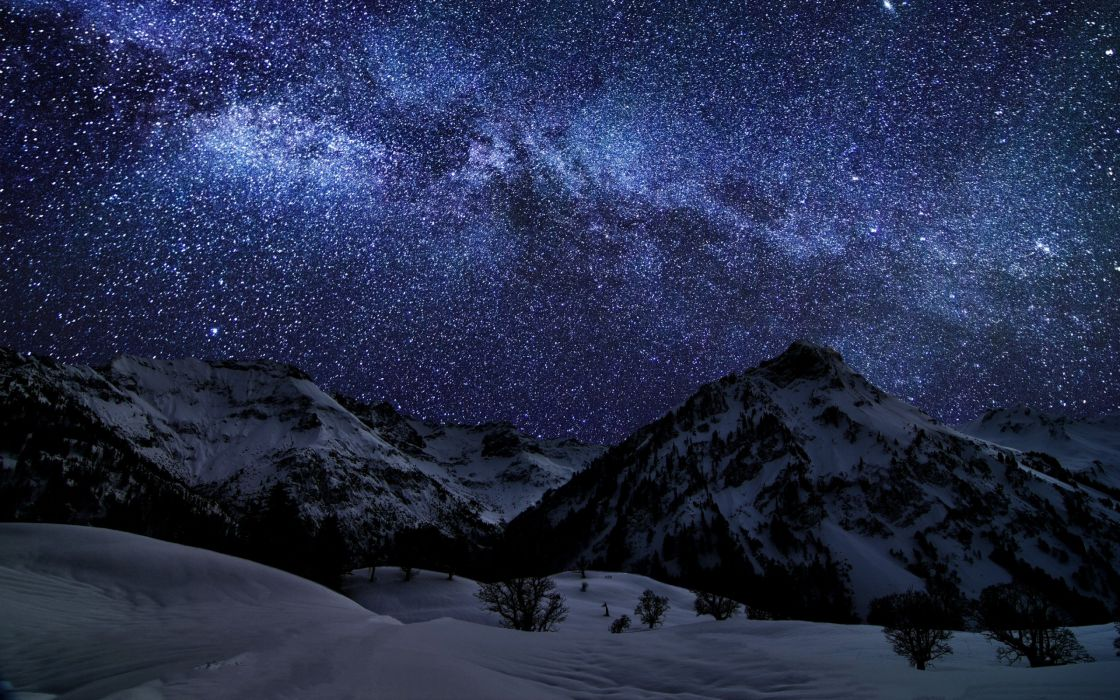 mountains landscapes nature winter snow night stars galaxies Germany Bavaria long exposure Milky Way HDR photography wallpaper