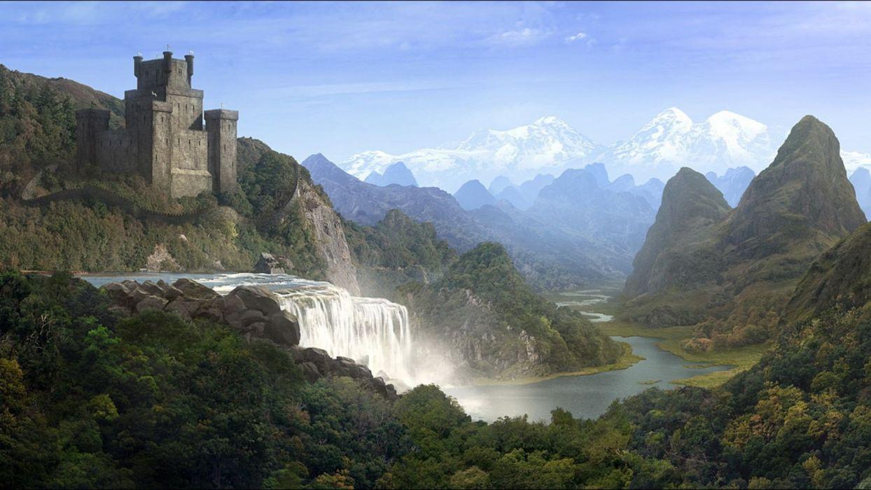 landscapes castles fantasy art artwork Andreas Rocha fans wallpaper