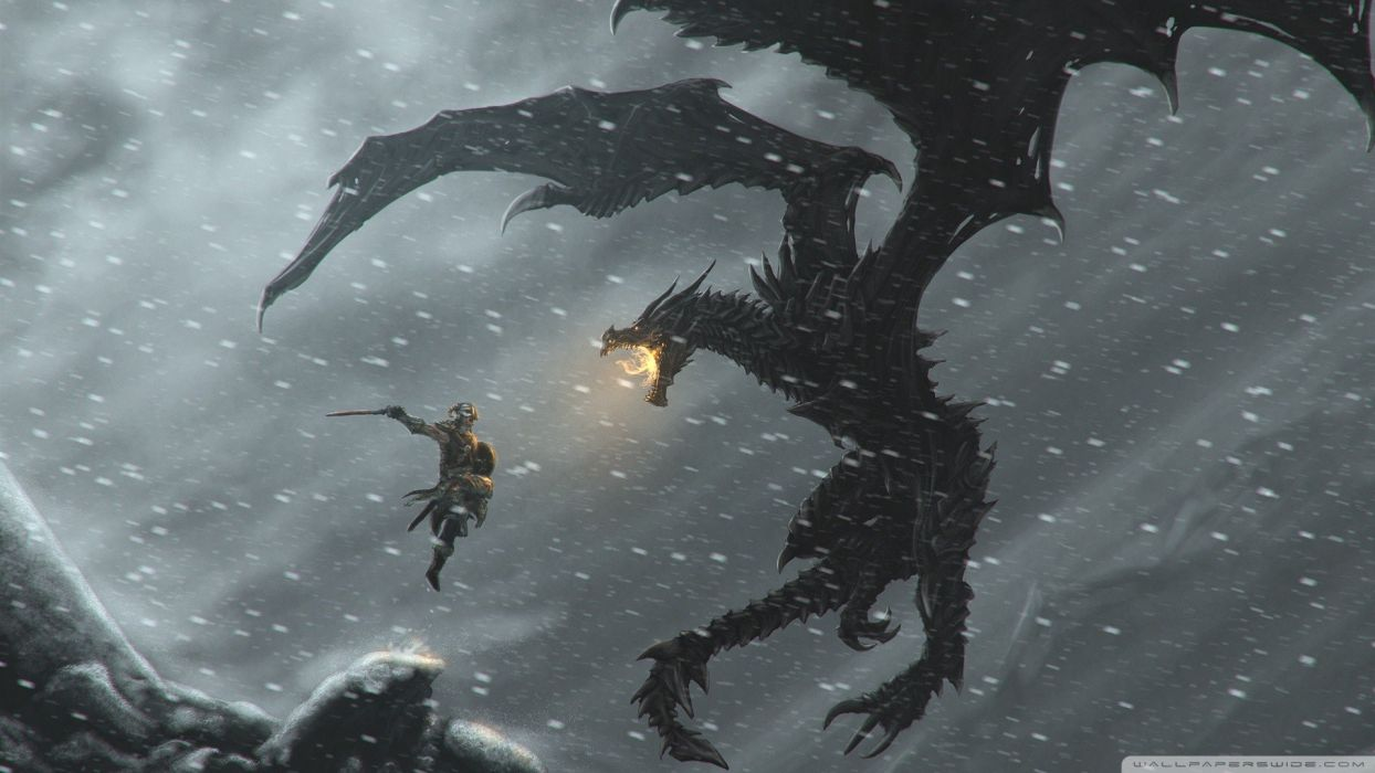 snow dragons fantasy art warriors The Elder Scrolls V: Skyrim wallpaper