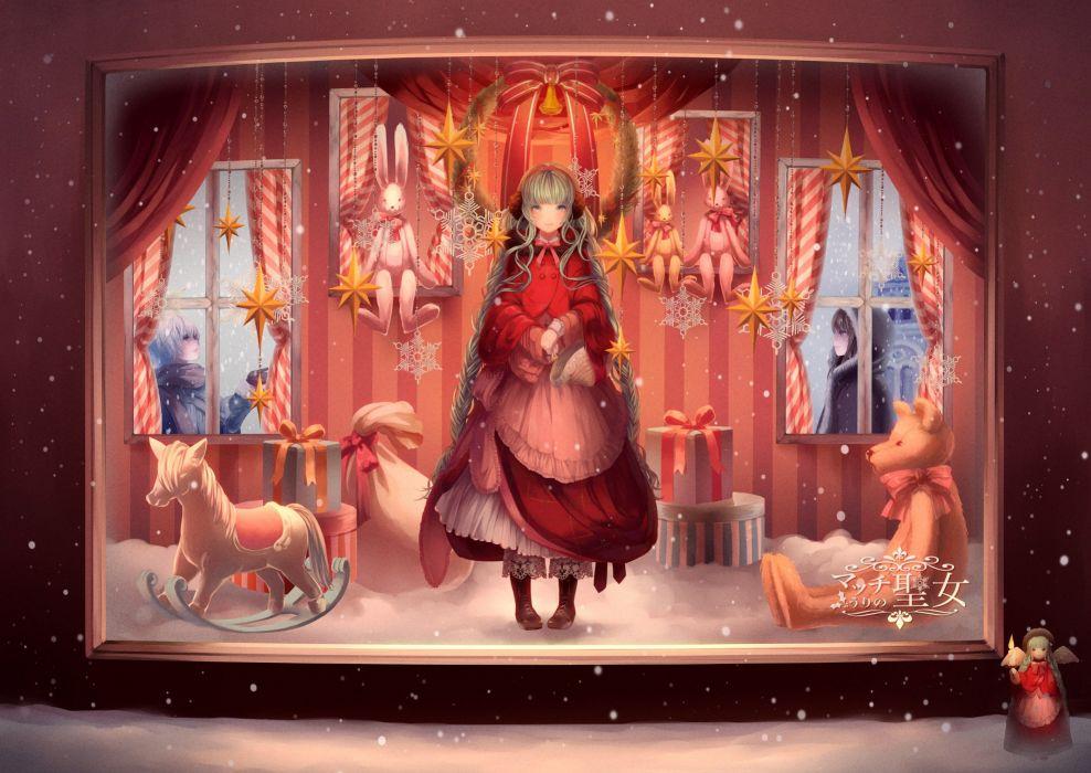 brunettes bunnies winter snow Vocaloid stars Hatsune Miku long hair presents Christmas short hair green hair stuffed animals scarfs white hair Christmas gifts wallpaper