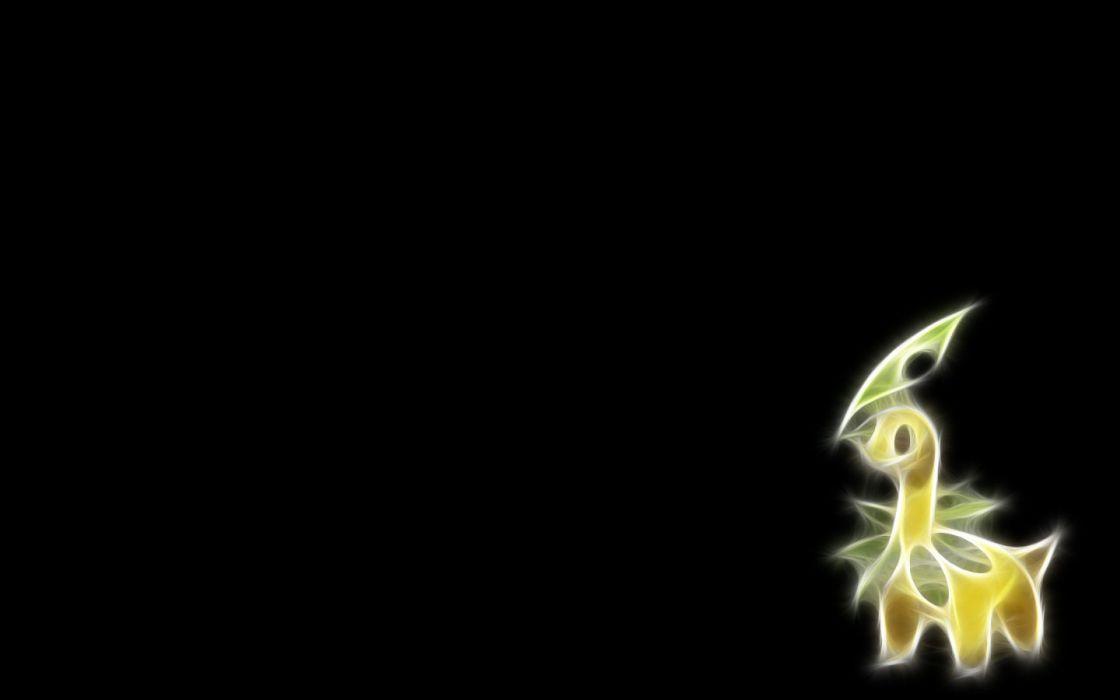 Pokemon Fractalius black background Bayleef wallpaper