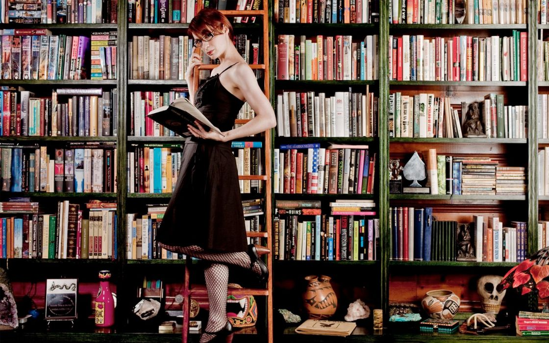 women redheads library books Felicia Day wallpaper