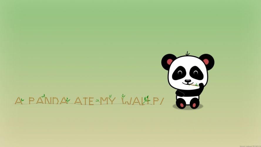 minimalistic bamboo panda bears simple background wallpaper