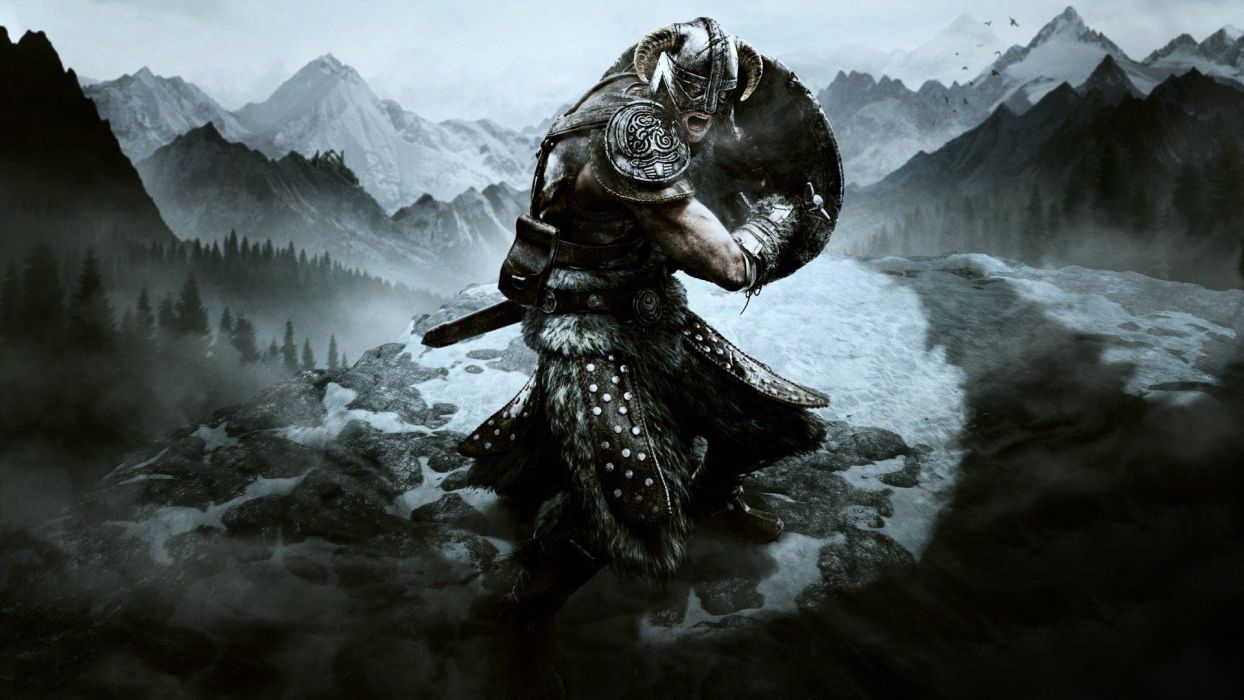 Video Games Mountains Vikings Armor Shield Warriors Swords The Elder Scrolls V Skyrim Wallpaper