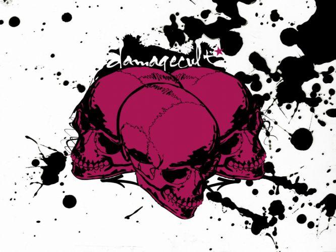 abstract skulls pink wallpaper