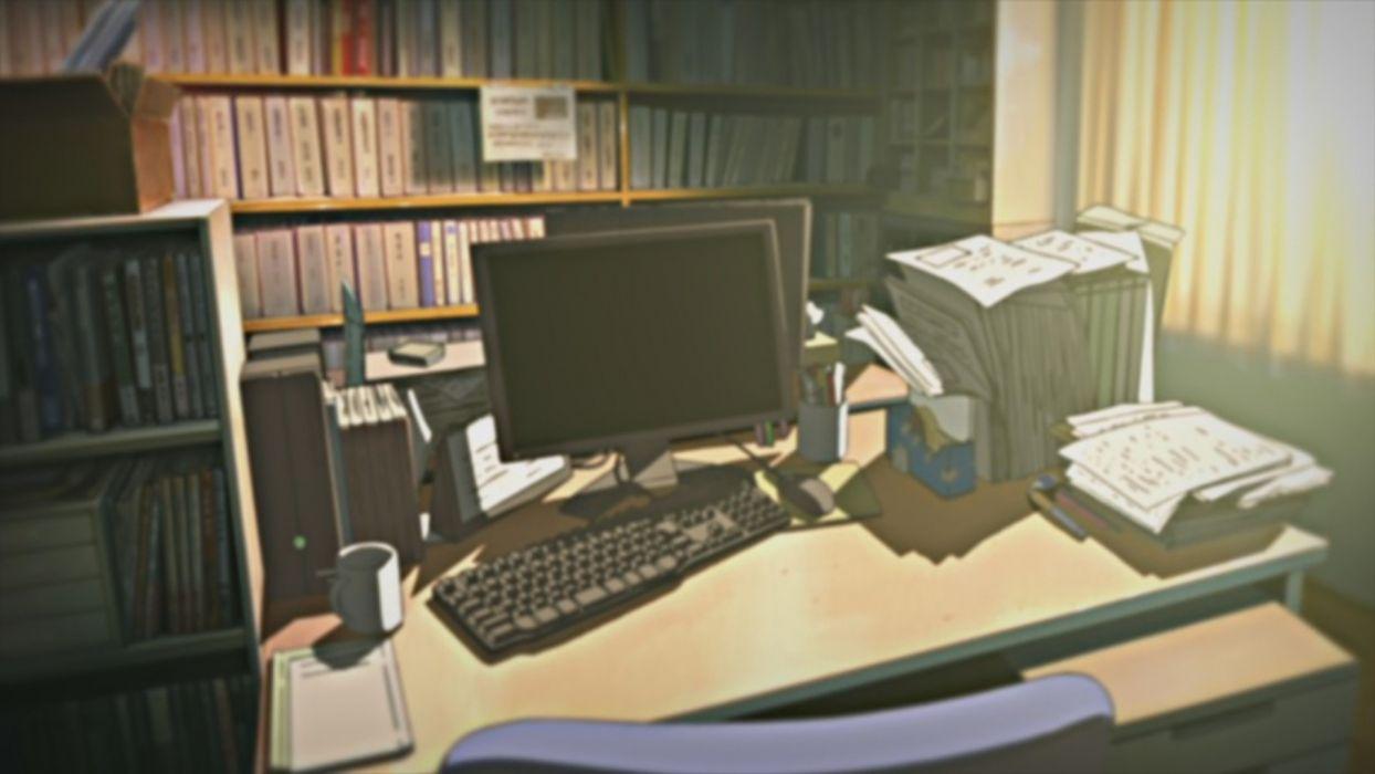 Computers indoors room illustrations anime desks Nichijou ...
