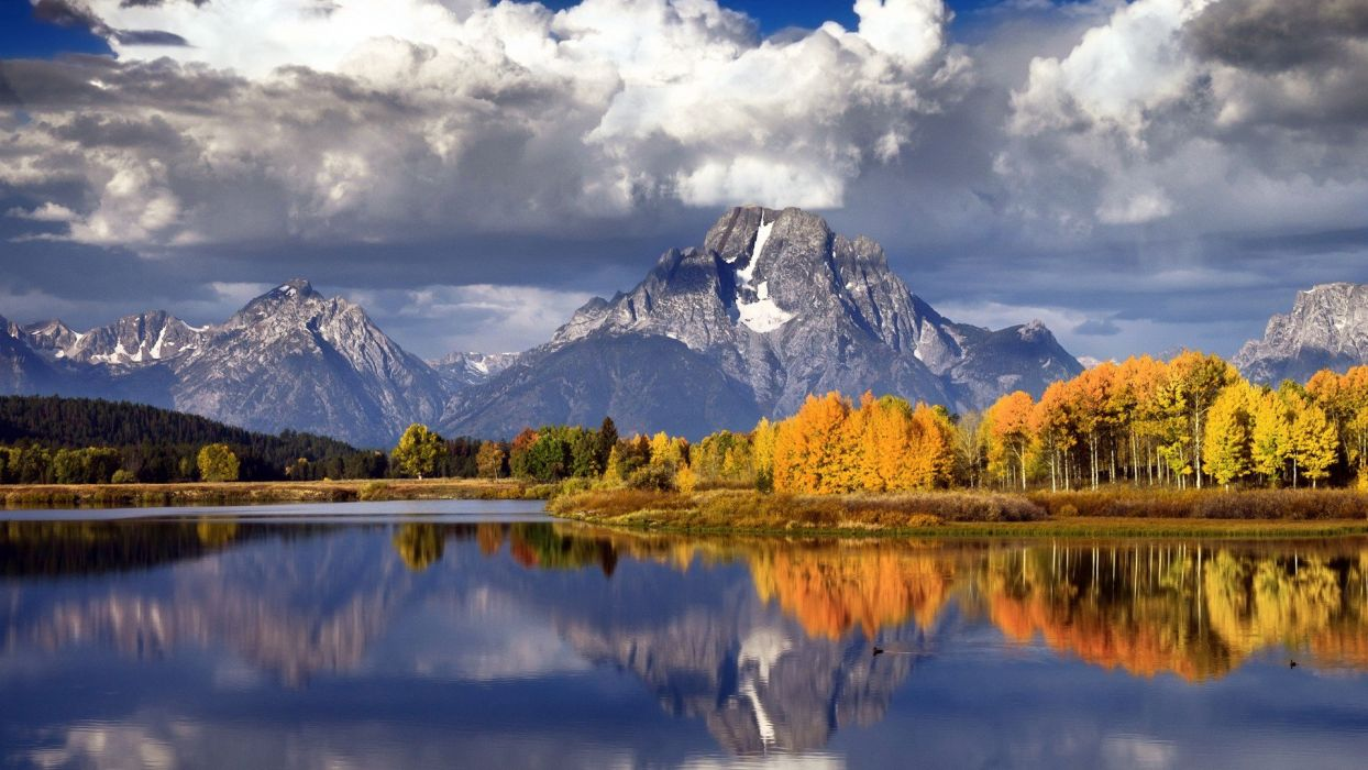 mountains landscapes nature trees autumn forests lakes rivers wallpaper