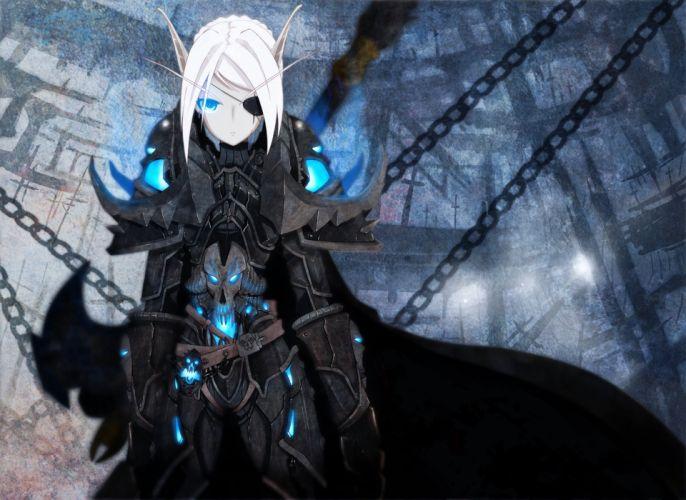 World of Warcraft Blood Elf eyepatch death knight games wallpaper