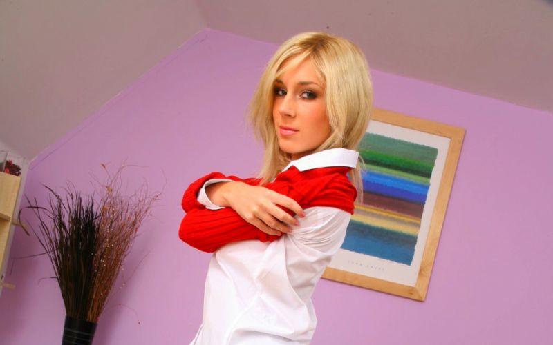 blondes women beds schoolgirls pantyhose striptease bedroom Julia Crown Onlyopaques Magazine Tindra Mantel wallpaper