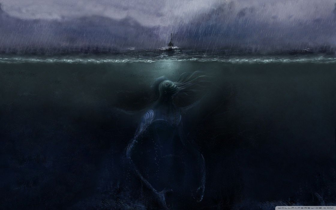 monsters rain Cthulhu ships HP Lovecraft artwork apocalyptic split-view sea wallpaper