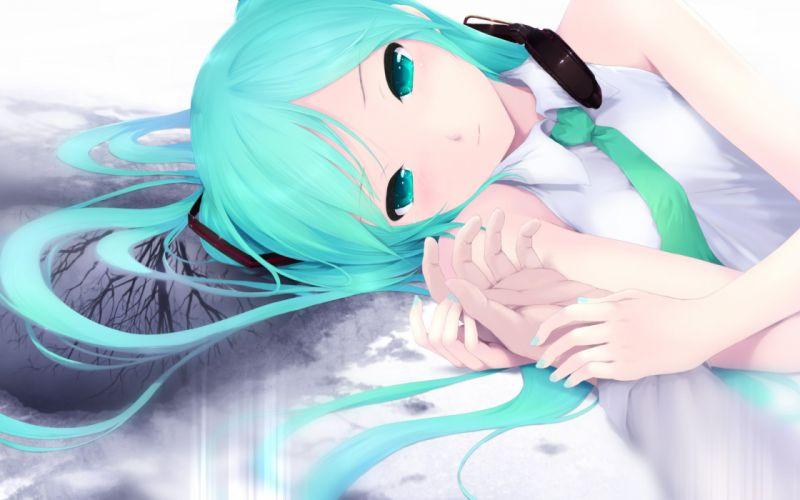 headphones Vocaloid Hatsune Miku tie long hair twintails lying down aqua eyes aqua hair anime girls wallpaper