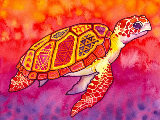 abstract paintings multicolor patterns turtles sea turtles watercolor wallpaper