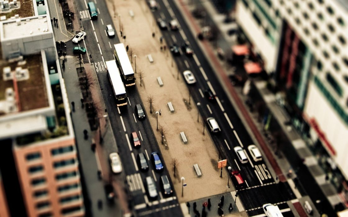 cityscapes streets traffic tilt-shift wallpaper