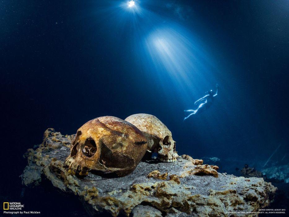 light skulls nature National Geographic underwater snorkeling cenote cave wallpaper